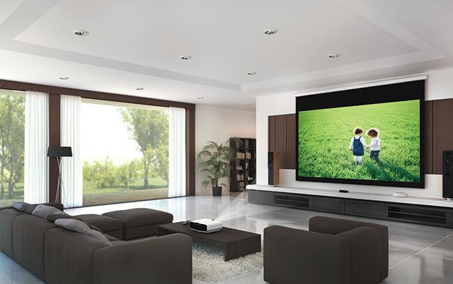 Gebruik van de beamer in een home cinema of een huiskamer